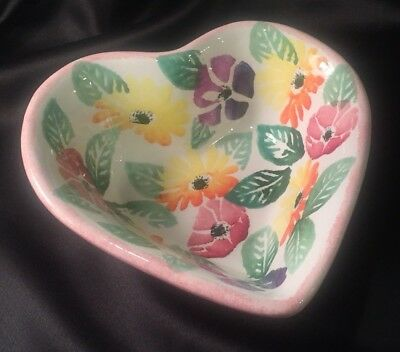 Hand Painted Ceramic Heart From Nove Italy by the Ancora Factory