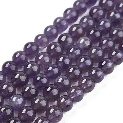 10 Strands Gemstone Bead Natural Grade AB Amethyst Round Purple Jewelry Craft