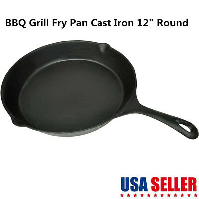 """Cast Iron Skillet Fry Pan BBQ Grill Kitchen Cookware 12"""" Round Outdoor Camping"""