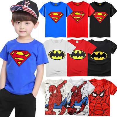 Kids Boys Batman Superman Spiderman Superhero Short Sleeve T-shirt Tops Shirt AU