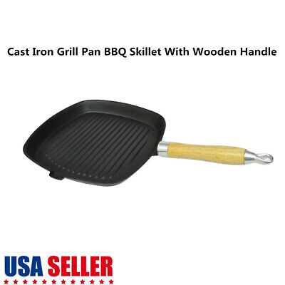 Cast Iron Grill Pan Non-Stick Square Cookware Wooden Handle Outdoor Camping BBQ