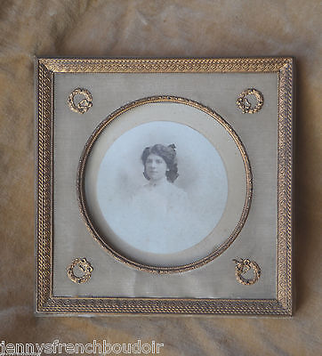 Antique French Empire style bronze and faded silk photograph frame