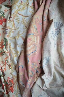 Antique French faded floral cotton Indienne fabric mix for patchwork, re-work