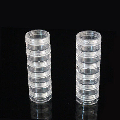1Set 6 x 5ml Empty Clear Stacking Jars Beads Nail Crafts Cosmetics Pots Plastic