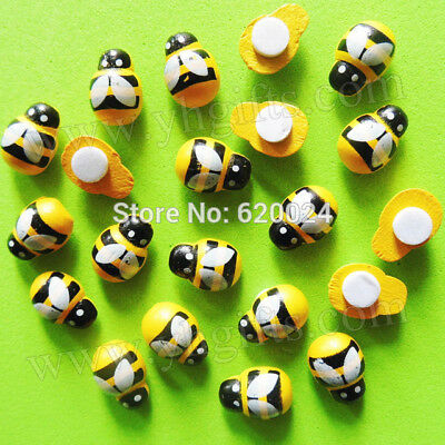 9mm ~ DIY 10//50//100 pcs Wooden 3D art Bee animal// fridge //Wall Stickers 13mm