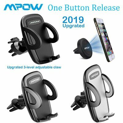 Mpow Air Vent Car Phone Holder Mount 1 Button Release 3-level Clamp 360° Rotate