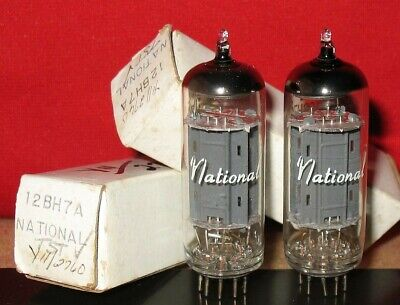 2 x 12BH7 Tubes .. New Old Stock Tested .. National Brand.