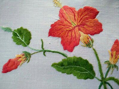 Outstanding Hibiscus Flowers   Vintage Hand Embroidered Centrepiece