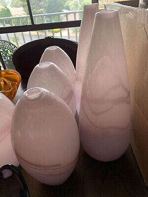 6x Gorgeous Pink Art Glass Vases or Display Decor. Selling as Lot