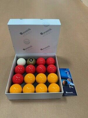 "ARAMITH 2"" REDS + YELLOWS MATCH POOL BALLS with ARAMITH GOLDEN 8 BALL"