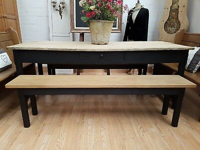 Large Antique Rustic French Farmhouse Table With Benches