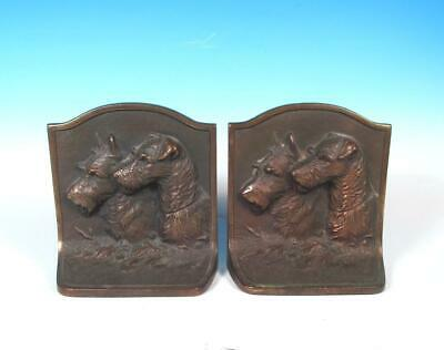 Hubley Antique Cast Iron Fox Scottish Terrier Bronze Patina Arts Crafts Bookends