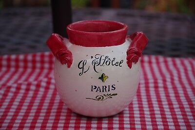 Cute Ceramic Rounded Vase w/VINTAGE style of French Decor made in China, Pre-Own