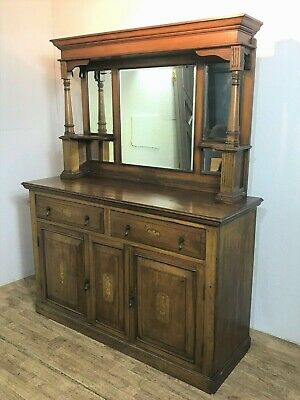 Antique mahogany mirror back sideboard dresser chiffonier with turned columns