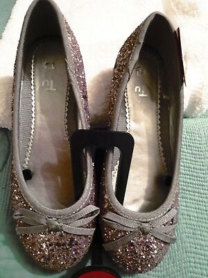 Bnwt Tu Sainsburys Girls Slip On Sequin Shoes Size 13 Pink Tone Bow Detail Front