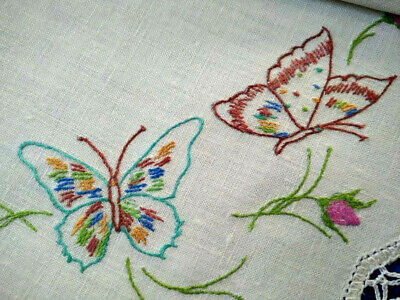 Beautiful Butterflies & Rose Buds  Vintage Hand Embroidered Centrepiece