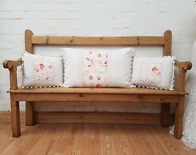 Charming Antique Stripped Pine Welsh Chapel Hallway Bench