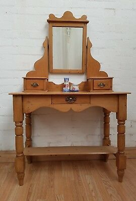 Delightful Antique Stripped Pine Dressing Table With Mirror