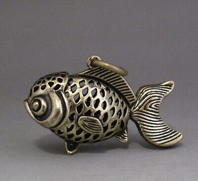 Lovely Chinese old Copper Hollow Goldfish /Fish Pendant Necklace