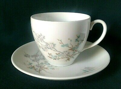 Johnson Brothers Snowhite Teacup & Saucer Ironstone Tea Duo Blue & White Flowers