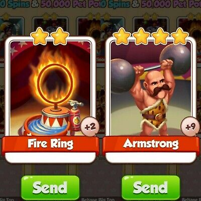 2 NEW Cards Pack Bundle from Circus Set Fire Ring | Armstrong | Coin Master