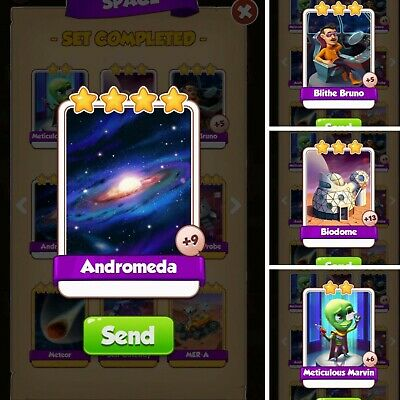 All 4 NEW Cards Space Set Andromeda | Bruno | Biodome | Marvin | Coin Master