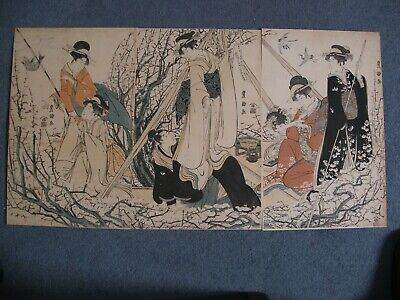 Original Japanese Woodblock Print Toyokuni I: Triptych Girls Fishing