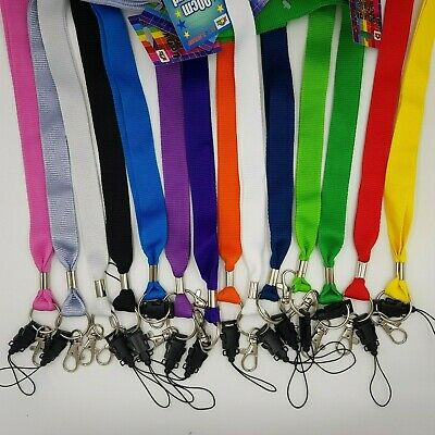 Neck Strap 20mm x 90cm Lanyard Plain Colour Safety ID Card Name Badge Holder