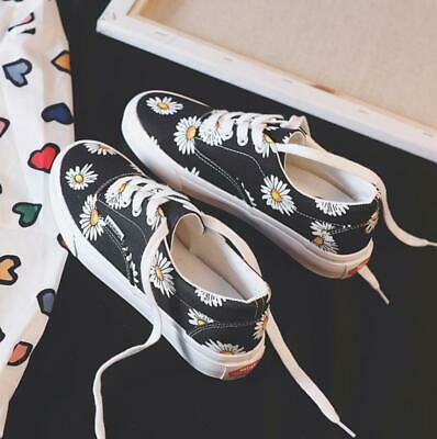 Womens Floral Skate Sports Shoes Canvas Trainers Casual Deck Plimsoll Pumps New