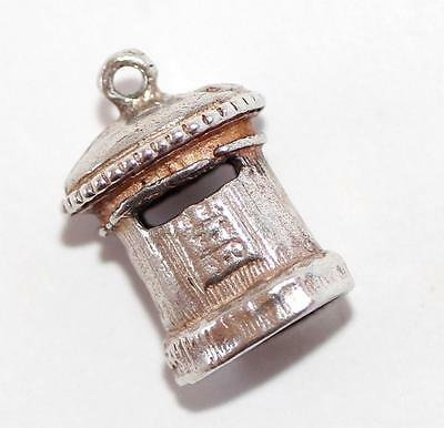 British Post Box Sterling Silver Vintage Bracelet Charm With Gift Box  2g