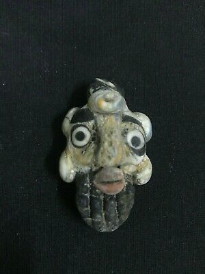 Rare Roman Ancient Glass Face Bead Men Mosaic Phoenician Stone Amulet Talisman T