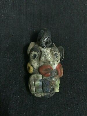 Rare Roman Ancient Glass Face Bead Men Mosaic Phoenician Stone Amulet Jewish T1