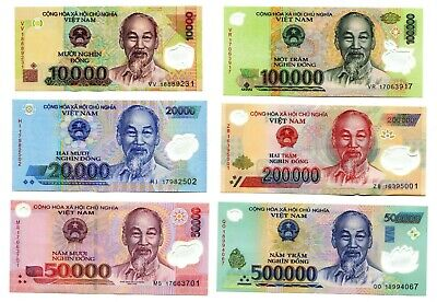 Vietnam Currency 880000 Dong  = 500000 200K 100K 50K 20K 10K Dong 6 Banknote Unc
