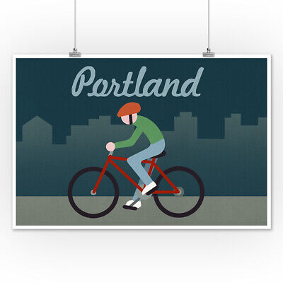 Portland, Oregon - Retro Skyline - Bicyclist (Art Posters, Wood & Metal Signs)