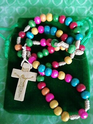 Beautiful multicoloured wooden Rosary beads Childs 1st Communion Confirmation