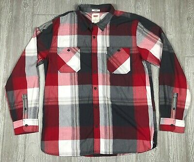 Levis Mens Button Down Shirt Long Sleeve Red Plaid Size XL