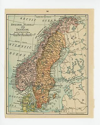 1911 Concise Atlas Vintage Map Pages - Sweden Norway Denmark on one side Aust...