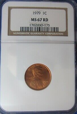 1979 Lincoln Memorial Cent  NGC MS67 RD. NGC Price Guide $75.00.