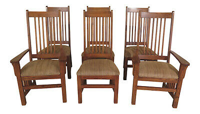 F30885EC: Set Of 6 THOMASVILLE Mission Oak Style Dining Room Chairs