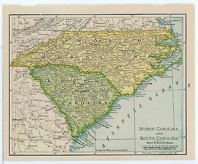 1911 Concise Atlas Vintage Map Pages - Georgia on one side North Carolina Sou...