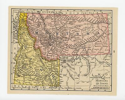 1911 Concise Atlas Vintage Map Pages - North Dakota and on one side Montana I...