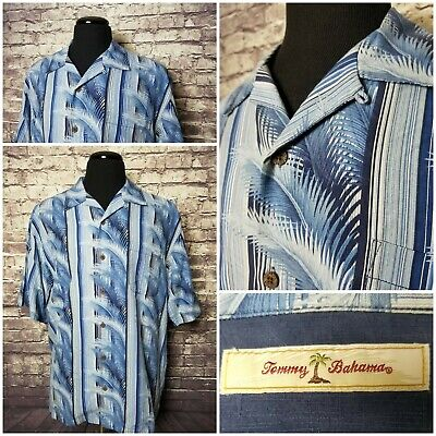 Exc Cond Tommy Bahama Men's L 100% Silk Blue Palm Pattern Hawaiian Camp Shirt