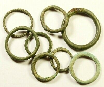Exchange Before Coins - Rare Lot Of 8 Celtic Bronze Proto-Money Rings -11