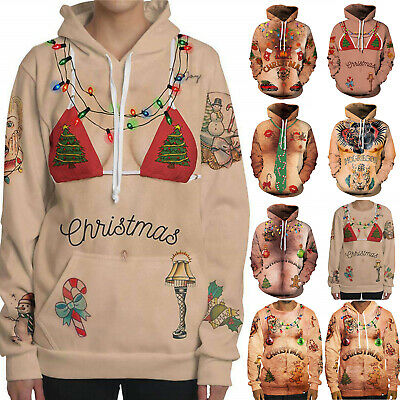 Ugly Funny Christmas Xmas Hoodies Pullover Sweatshirt Sweater Jumper Tops Winter