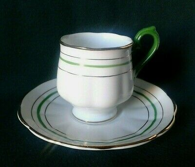 Crown China Cup & Saucer Art Deco Bone China Coffee Duo Hand Painted Green Gold