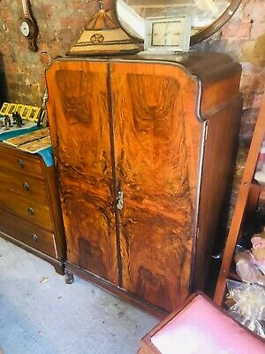 Antique Vintage Art Deco Burr Walnut Tallboy .85wide X 140high X 48deep Cm