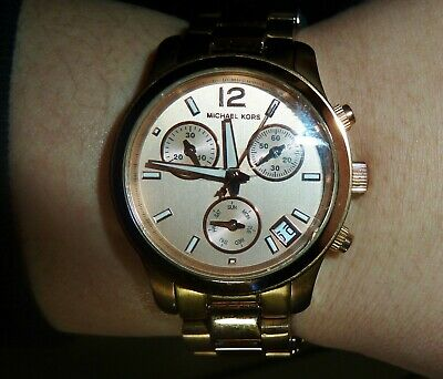 Michael Kors Ladies Rose Gold Runway Chronograph Designer Watch Mk5430