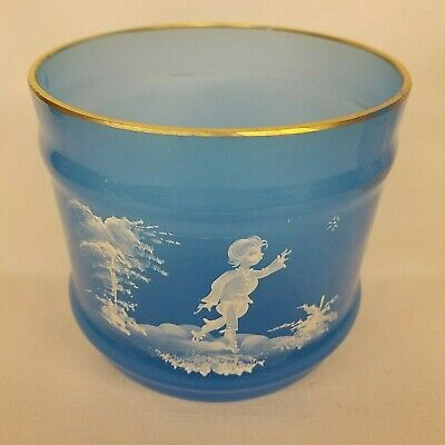 Antique Mary Gregory ? Hand Painted Blue Glass Vase Jar
