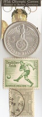 1896-olympic stamp+1936-*german Olympic stamp and SILVER(.900%,29mm,4016oz) coin
