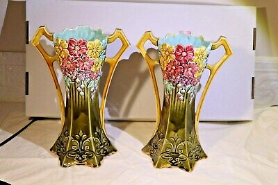 Vintage MATCHED PAIR OF Art Nouveau VaseS #18 > Majolica FRIE ONNAING